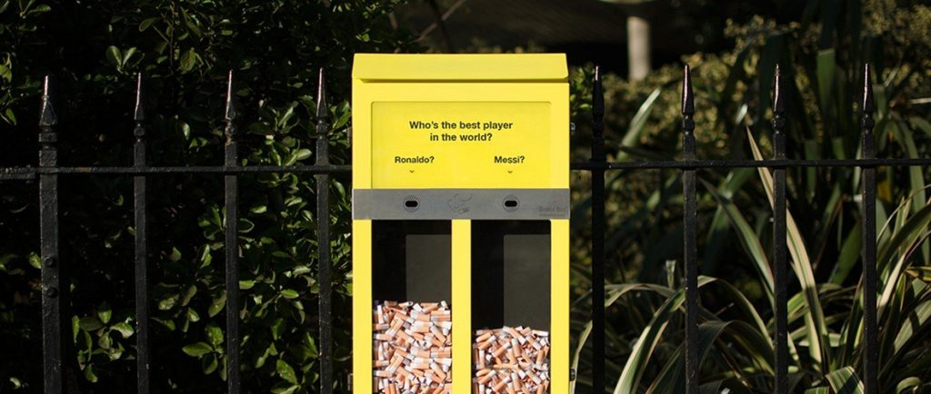 Ballot bin - voting with cigarettes